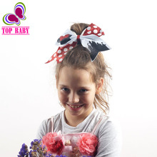 New Large Cheer Bow Cheerleading Hair Bow Dance Cheer Bow Rubber Hair Bands For Girls Ponytail(China)