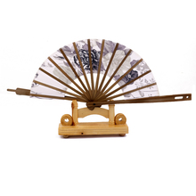 New Hot Sale Japanese Windmill Circle Round Hand Fan Spun Silk Bamboo Flower Folding Fan Free Shipping(China)