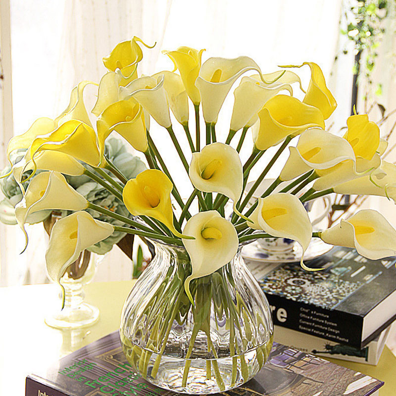 hot 9pcslot silk flowers yellow lily artificial flower christmas decorations for home party supply