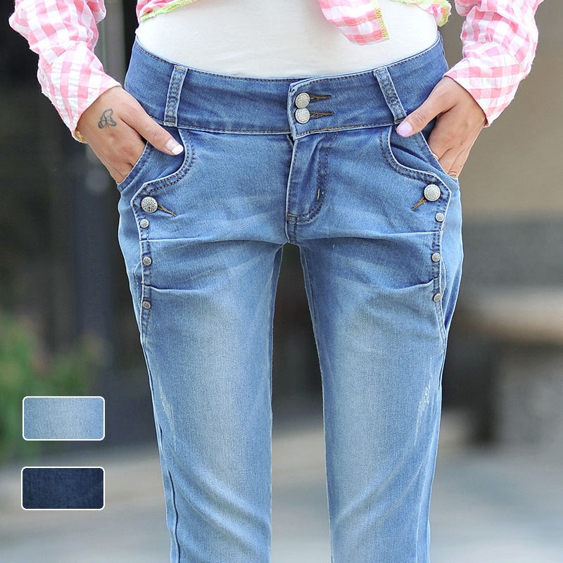 New 2017 famous brand women jeans  fashion spring and autumn breasted female jeans  Slim pencil jeans pants for woman 40P057Одежда и ак�е��уары<br><br><br>Aliexpress