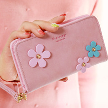 Fashion design Matte PU leather Three Flower women Wallet clutch Mobile Phone wallet  Purse female Medium size