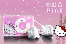 Free shipping Hot sale 2pcs/lot Newest fashion mini clip hello Kitty MP3 player support TF card with USB Cable Earphone No Box