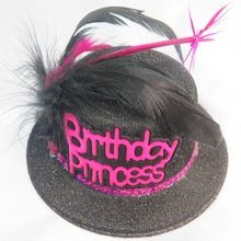 Birthday princess top hat 50% off for 3pcs feather brooch tiara brithday girl sash adult woman birthday event party supplies