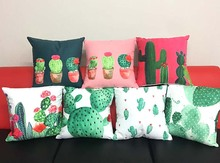 Cactus Art Cushion Cover Tropical Plant Monstera Banana Green Leaves Cushion Covers Decorative Soft Short Plush Pillow Case