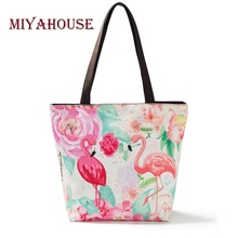 Miyahouse 5 Colors Cute Pink Flamingo Print Handbag For Women Casual Tote Bags Canvas Beach Bag High Quality Ladies Shopping Bag(China)