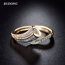 BUDONG High Quality Fashion Unique Finger Band for Women Gold-Color Ring Pave Crystal CZ Zircon Statement Jewelry for Mother(China)
