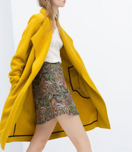 2015 Spring New Womens Fashion X-Long Yellow Standard Wool Loose Wrap Oversize Coat Open Stitch Cardigan lapel woolen(China)
