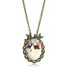 XUSHUI XJ Glass Cabochon Cute Cat Pendant Necklace Lovely Cat Jewelry Accessories Bronze Chain Necklace Women GiftS