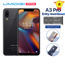 "UMIDIGI A3 Pro Глобальный Band 5,7 ""19:9 весь смартфон 3 GB + 16/32 GB Quad core Android 8,1 12MP + 5MP Face Unlock двойной 4G 3 слота(China)"