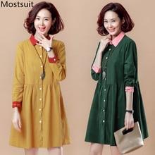 M-4xl Jaune Vert En Velours Côtelé Robe Femmes Plus Taille Printemps  Automne Vintage Casual Coréenne Robes À Manches Longues Car. bcf25c0df22
