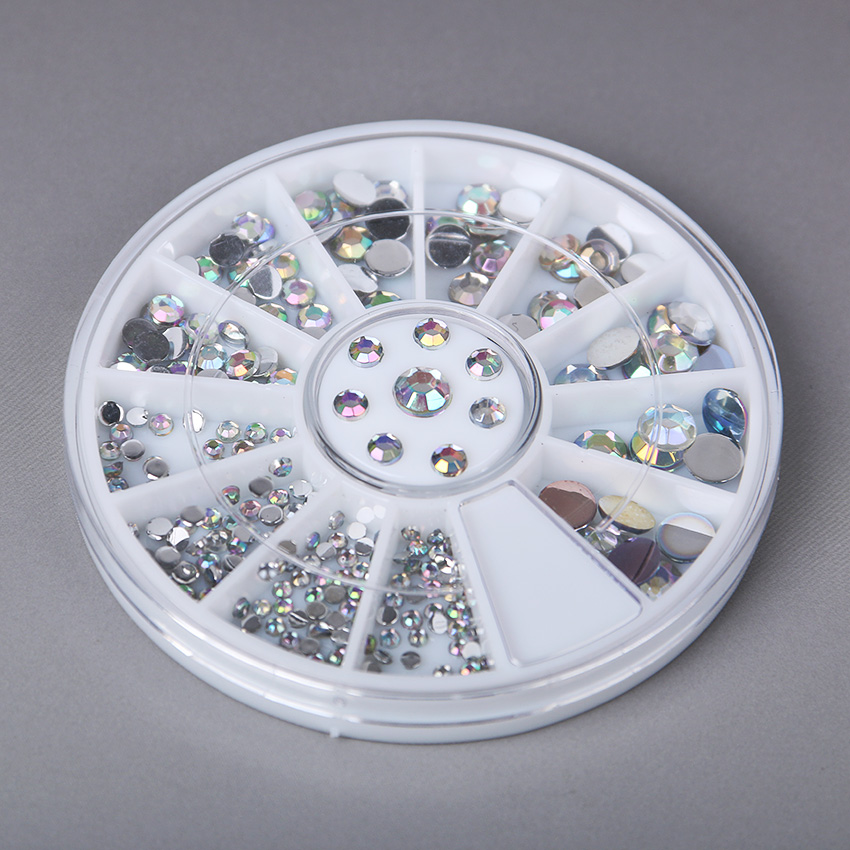 1 pçs/lote Arte 12 Cores de Unhas Strass Acrílico Decoração de Unhas 1.5mm para Gel Uv e Laptop DIY