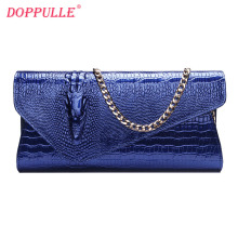 Doppulle Genuine Leather Woman Envelope Clutch Bag Brand Designer luxury Banquet Handbag shoulder Bag(China)