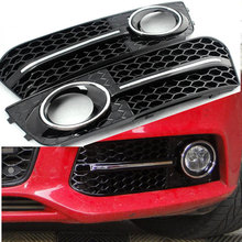 ABS RS4 Style Front Bumper Fog Lamp Masks Grille Cover trim For Audi A4 B8 2009~2012 Standard Bumper
