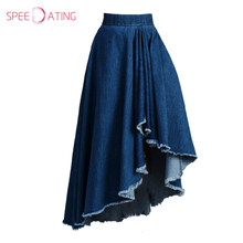 Stylish Asymmetric Hem Frayed Trim Maxi Skirt Vintage Flared Women Casual Denim Skirt A-line Blue Plain Long Skirts SPEEDATING