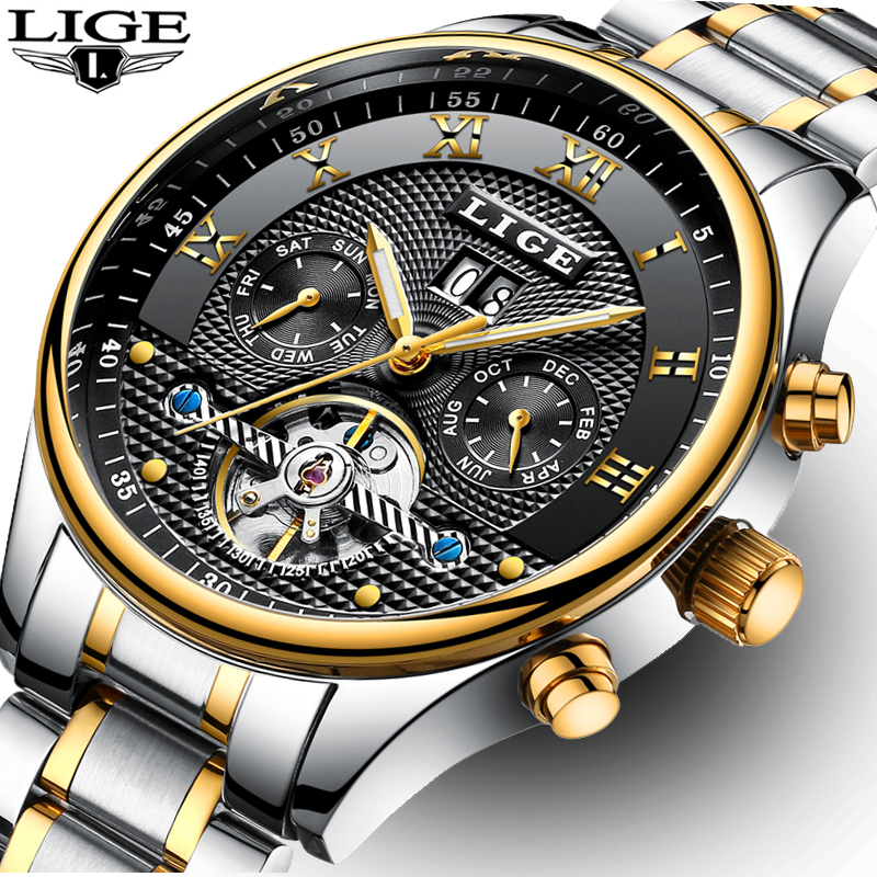 Luxury Brand LIGE Mens Mechanical Watches Stainless Steel Automatic Watch Men Fashion Business Week Month Waterproof Clock Man<br>