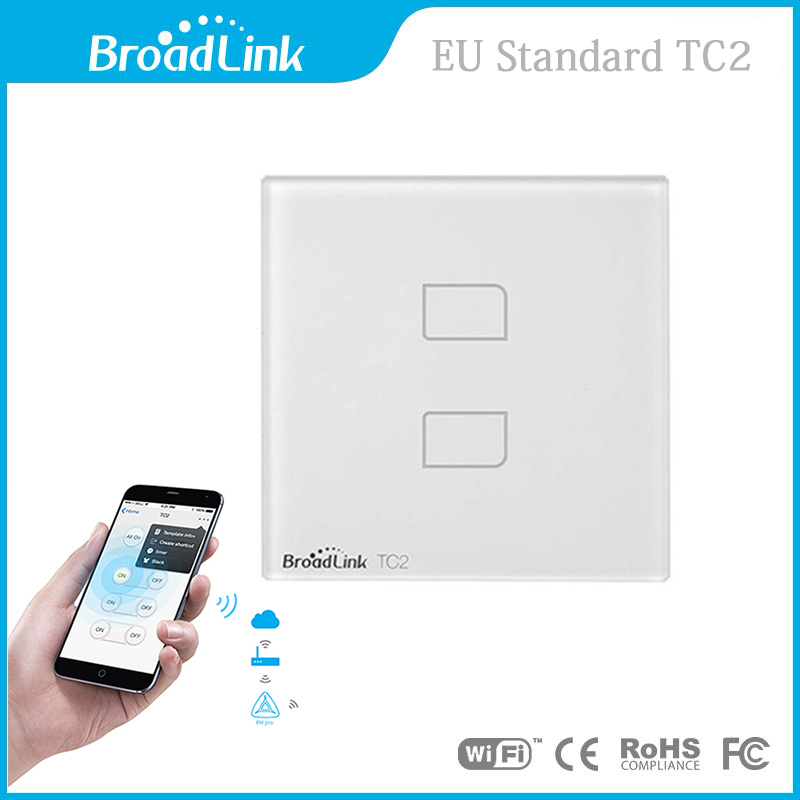Broadlink EU Standard TC2 Wireless 2 Gang Remote Control Wifi Wall Light Touch Screen Switch 110V-240V IOS Android  Smart Home<br><br>Aliexpress