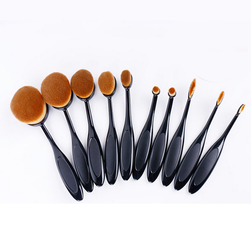 Fashion Black Rose Golden Silver Soft Oval Toothbrush Makeup Brush Kit Foundation Brushes Box Package 10 pcs/set P065<br>