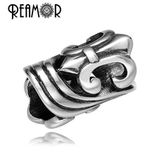 Buy REAMOR Punk Style 316L Stainless steel Metal Big Hole Beads Iris Flower Charms Bead Bracelet Jewelry Making Jewelry Findings for $5.96 in AliExpress store