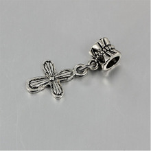 free shipping 1pc christmas gift European antique silver cross bead pendant charms Fits Pandora Charm Bracelets PCA071