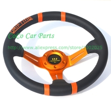 Free Shipping: Racing Car Leather Steering Wheel 350mm Diameter LYJ Drifting Car Steering Wheel(China)