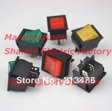 12pcs on off switch 4 pins rocker switch WITH lamp red yellow green blue(China)