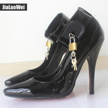"jialuowei BDSM Sexy Fetish High-Heel Pumps Lock And Key 5"" High Heels Pointed Toe Ankle Strap Padlocks Shoes Plus size 36-46"