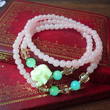2014 Fashion New Women Bracelets Vacation Jewelry Pink Beads Multilayer Bracelet Lucky Bracelet Girls Gift 025
