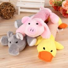 New Dog Toys Pet Puppy Chew Squeaker Squeaky Plush Sound Duck Pig Elephant Toys 3 Designs Rubber Round Ball with Small Bell Toy(China)
