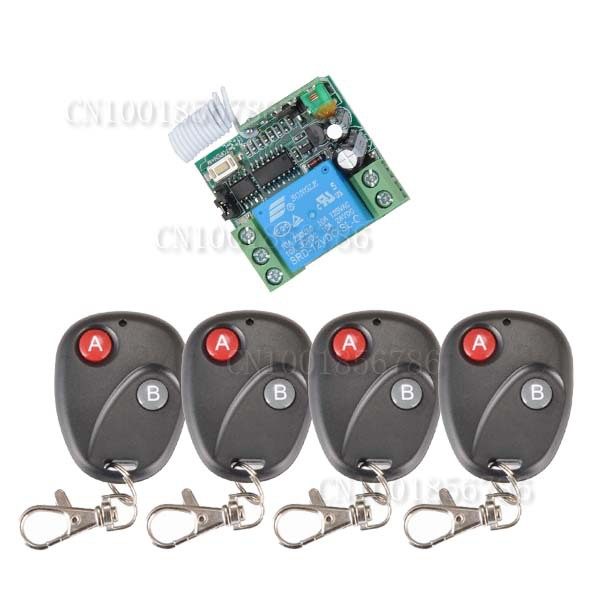 Free shipping DC 12v 10A 1CH wireless RF Remote Control Switch System With 4pcs transmitter +Case For Entrance guard system<br><br>Aliexpress