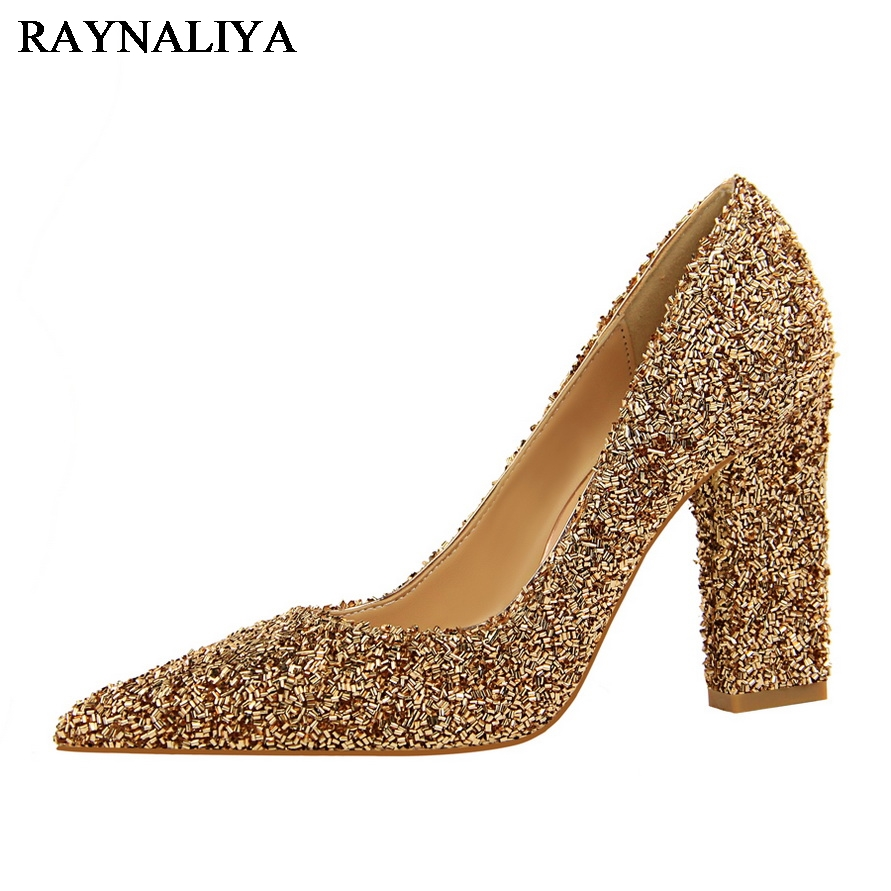 Gold Glitter Heels 2017 Sequin Cloth Prom High Women Gray Pointed Toe Sliver Fashion Spring New Autumn Pumps Shoes BT-A0033<br>