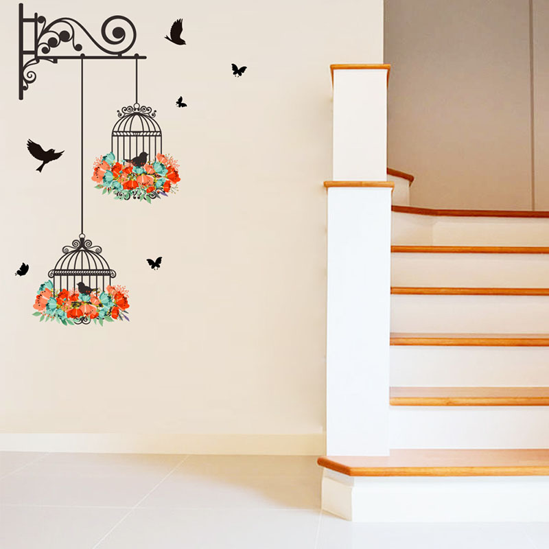 HTB18hrJRFXXXXXRXFXXq6xXFXXXm - New Birdcage Flower Flying for Living room Nursery Room Wall Stickers Vinyl Wall Decals Wall Sticker for Kids Room Home Decor