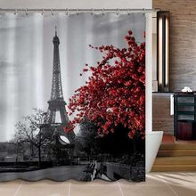 Paris Eiffel Tower Red Flower Polyester Waterproof Mildewproof Shower Curtain Bath Bathroom Decoration Fabric 72 Inch +12 Hooks