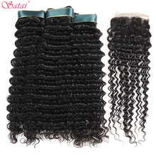 Satai Brazilian Deep Wave 3 Bundles With Closure 100% Human Hair Bundles With Closure Brazilian Hair Weave Bundles Non Remy Hair(China)