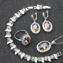 Mystic Rainbow White CZ Silver 925 Costume Jewelry Sets Women Earrings/Pendant/Necklace/Rings/Bracelets For Wedding Free Box(China)