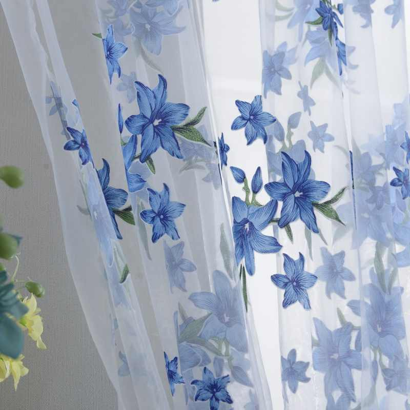 2018 Creative  1x2M Sweet  Sheer Tap Top Curtain Window Living Room Drapes Floral Curtains Panel