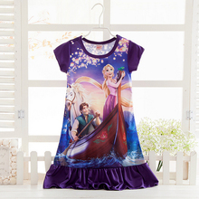 Girl's Casual dress Elsa Anna Cinderella Princess girl's nightgown,Rapunzel snow white girl Pajamas Dress,Kids Sleepwear Pyjamas