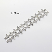 163mm 2psc Rhinestone Bikini Connector Buckle Metal Chain Swimming Wear Shoes Sewing for wedding box and sewing craft