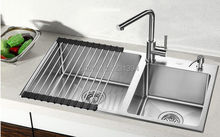 800*450*220mm Stainless steel undermount kitchen sinks sets Double bowl Drawing Double drainer Handmade seamless welding sink(China)