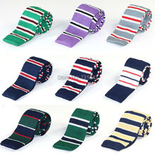 Striped Skinny Knitted ties for men 100% Polyester Woven mens Slim necktie for Party Business Brand Handmade Cheap Neck Tie(China)
