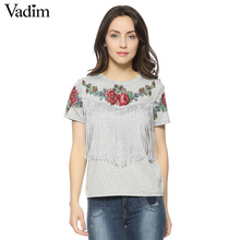Women tassel floral print T shirt vintage red rose tees O neck short sleeve shirts blusa feminina casual slim brand tops DT42(China)