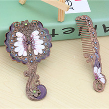 Handmade high quality rhinestone Butterfly pattern ladies makeup mirror comb set hand mirror makeup tools home office use(China)