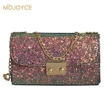 1ead113d7a7b Shining Sequin Leather Messenger Bag for Girl Party Handbag Women chain Pig  Lock Decoration Shoulder Clutch