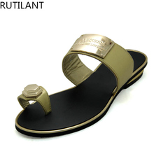 Gold Color Slip on Low Heel Summer Women Slipper Shoes African Wedding Shoes Italian Women Shoes High Quality Women Party Shoes(China)