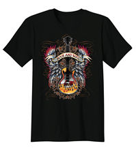 2017 summer fashion o-neck T-Shirt Rock & Roll Music Guitar Angel Wings Flames Tee Size S-2XL