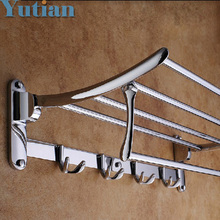 HOT SELLING, FREE SHIPPING, Bathroom towel holder, Foldable towel rack,50cm Stainless steel towel rack with hooks(China)