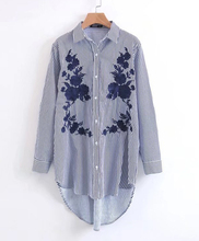 Women Plus Size Short Front Long Back Blue Striped Blouses With Embroidery, Femininas Oversized Big Boy Friend Shirt.(China)