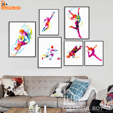 COLORFULBOY Watercolor Football Hip-hop Ski Canvas Painting Posters And Prints Wall Pictures For Kids Room Decoration Paintings