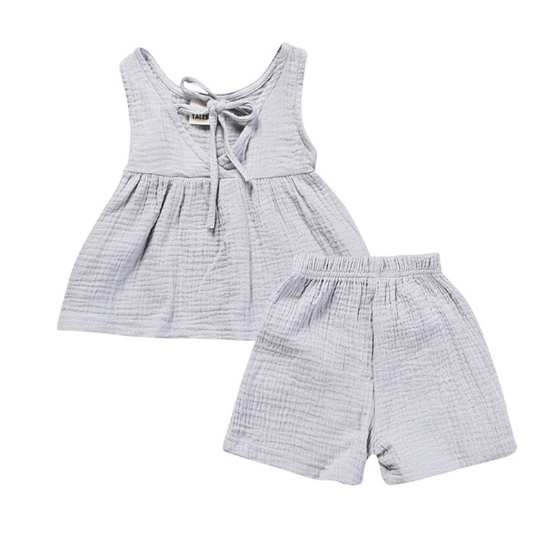 Summer Baby Girls Clothing Set Linen Swing Girls Top Short 2pcs Baby Clothes Sleeveless Children Kids Clothes Newborn Outfit