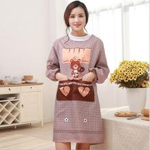 Hot Sale Korean Style Cartoon Long Sleeved Apron With Pocket Waterproof Kitchen Restaurant Cooking Apron Supplies Tool Women