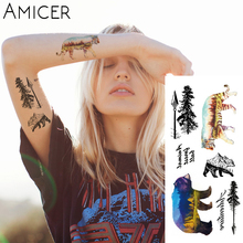 1 piece Fantasy Color Forest tiger bear Hot Large animal Temporary Tattoo Waterproof Tattoo Sticker for women men